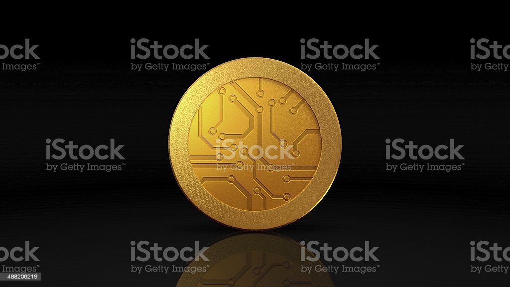 digital currency gold coin dark stock photo