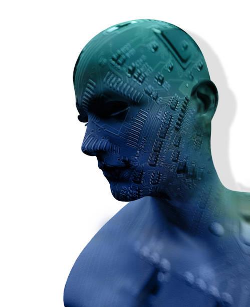 Digital Cyber Circuit Head stock photo