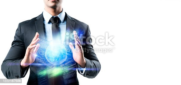 1127866562 istock photo Digital cyber smart world future lifestyle digital smart world, digital marketing IOT internet of thing future AI technology smart device system, business control futuristic background 1222187556