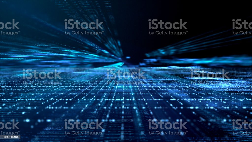 Digital Cyber Space Particles stock photo