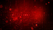 istock Digital cyberspace with particles and Digital data network connections concept on red background 1286943532