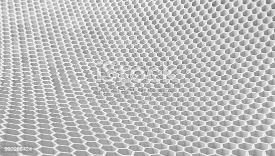 istock Digital data and network connection hexagon shape in technology concept on white background, 3d structure abstract illustration 992986424