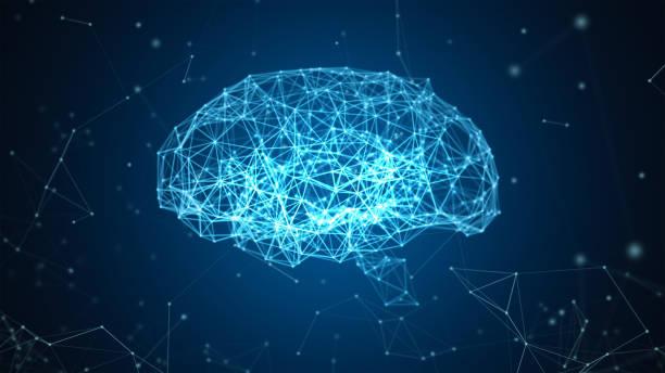 digital conexão de dados e rede de cérebro humano isolado em um fundo preto em forma de inteligência artificial para a tecnologia e o conceito médico. gráfico de movimento. ilustração 3d abstrata - brain - fotografias e filmes do acervo