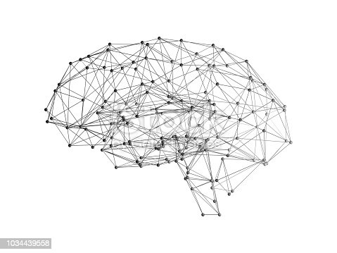 istock Digital data and network connection of human brain on white background in the form of artificial intelligence for technology concept, 3d abstract illustration 1034439558