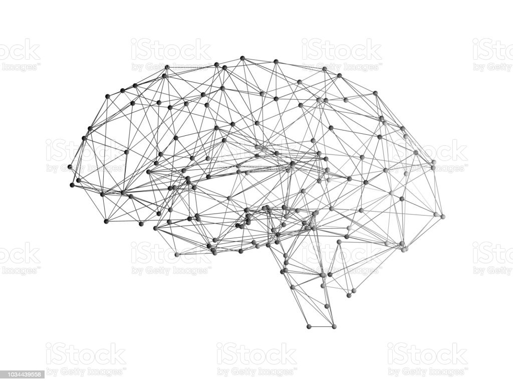 Digital data and network connection of human brain on white background in the form of artificial intelligence for technology concept, 3d abstract illustration stock photo