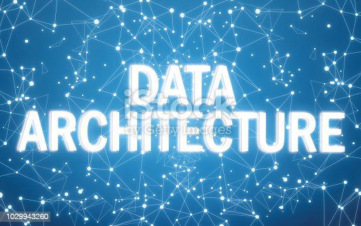 istock Digital data architecture text on blue network background 1029943260