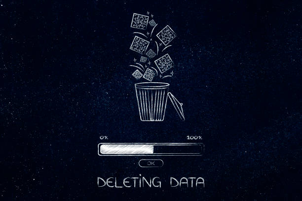 digital data falling into a bin and getting deleted with progress bar stock photo
