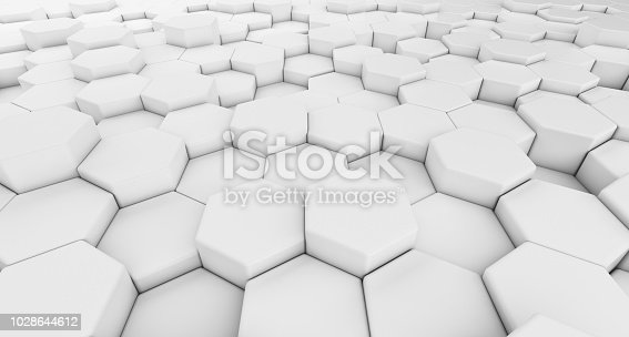 istock Digital data. Hexagon shape in structure of architecture technology concept on white background, 3d abstract illustration 1028644612