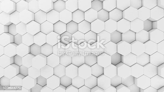 istock Digital data. Hexagon shape in structure of architecture technology concept on white background, 3d abstract illustration 1028644770