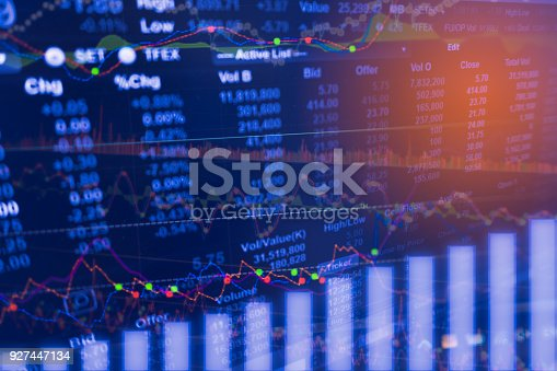 istock Digital data indicator analysis on financial market trade chart on LED. Concept Stock data trade. Double exposure style 927447134