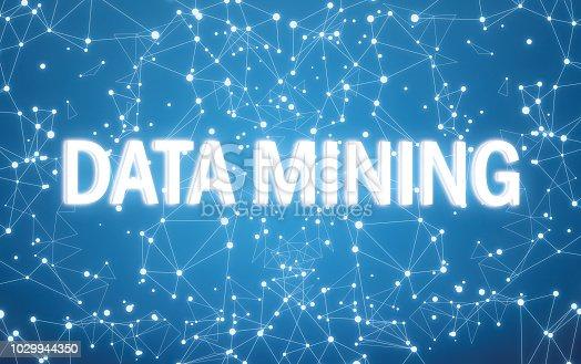 istock Digital data mining text on blue network background 1029944350
