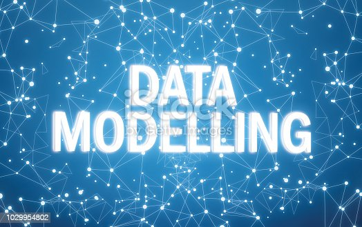 istock Digital data modelling text on blue network background 1029954802