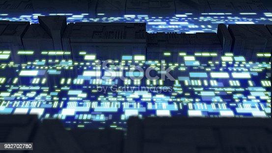istock Digital data stream transfer 932702780