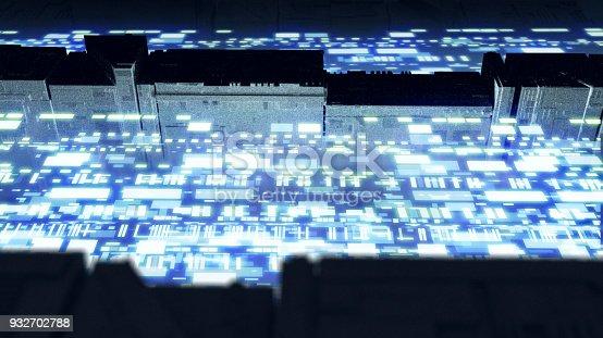 istock Digital data stream transfer 932702788