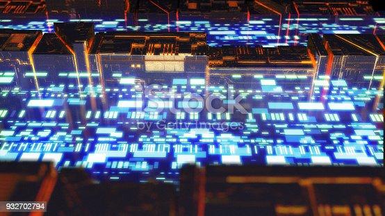 istock Digital data stream transfer 932702794