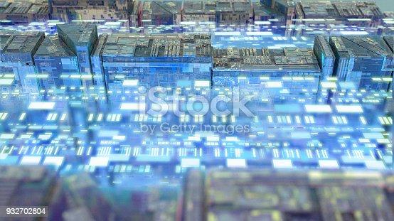 istock Digital data stream transfer 932702804