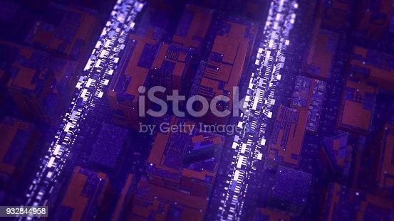 istock Digital data stream transfer 932844958