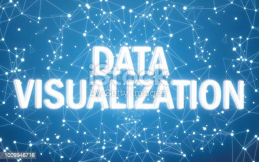 istock Digital data visualization text on blue network background 1029946716