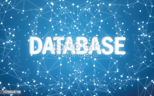 istock Digital database text on blue network background 1029948758