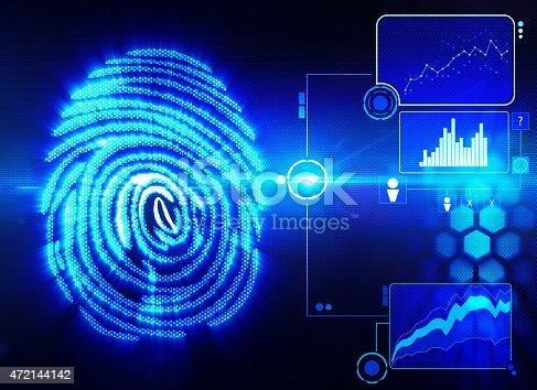 istock Digital depiction of fingerprint scanning technology 472144142
