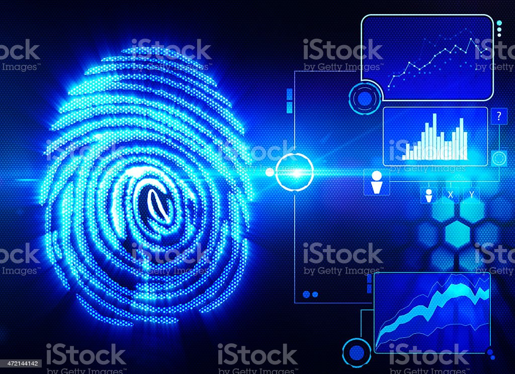 Digital depiction of fingerprint scanning technology stock photo