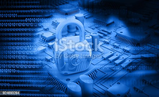 istock Digital design of circuit board with Closed Padlock 924693264