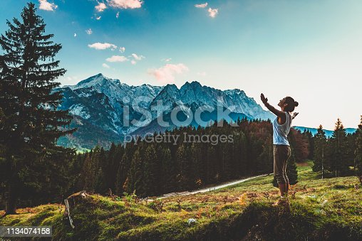 Young woman enjoying nature in the mountains of Gran Canaria, Spain