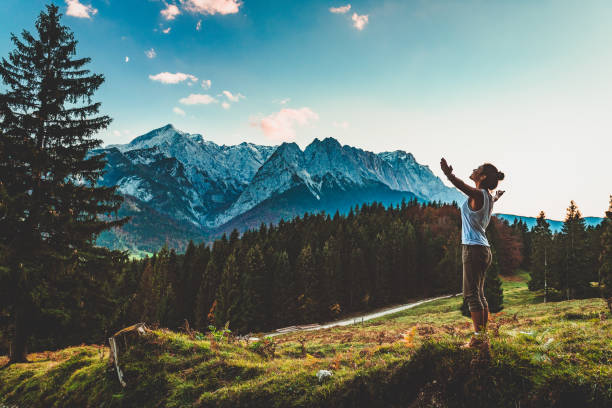 Digital Detox in Garmisch-Partenkirchen, Germany Young woman enjoying nature in the mountains of Gran Canaria, Spain bavarian alps stock pictures, royalty-free photos & images