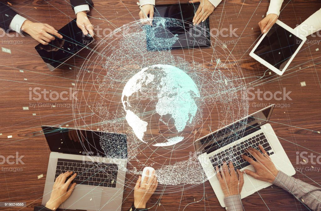 Digital devices and global network concept. stock photo