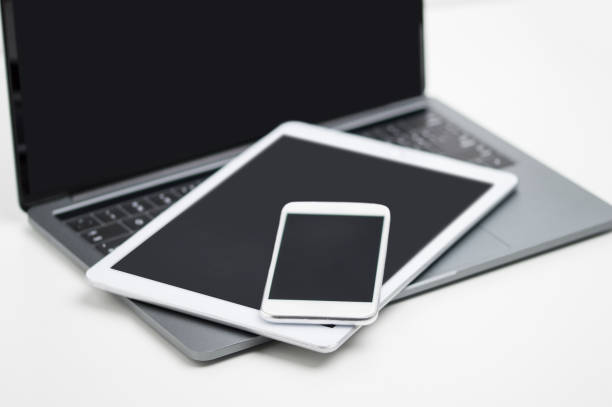 Digital devices at the ready stock photo