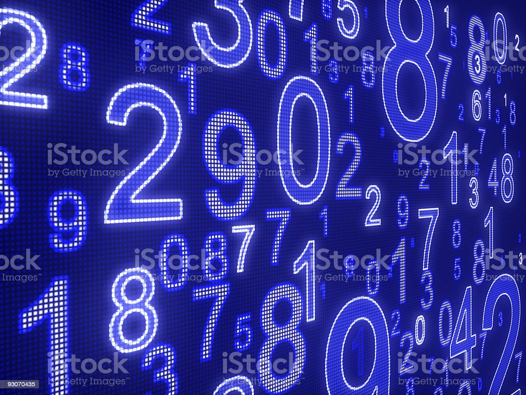 Digital display in blue featuring numbers stock photo
