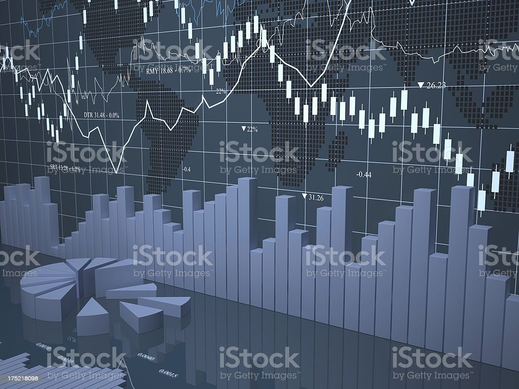 Digital display of graph, pie diagram and map royalty-free stock photo