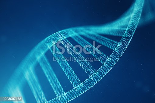 istock Digital DNA molecule, structure. Concept binary code human genome. DNA molecule with modified genes. 3D illustration 1023097138
