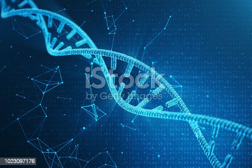 1023097184 istock photo Digital DNA molecule, structure. Concept binary code human genome. DNA molecule with modified genes. 3D illustration 1023097176