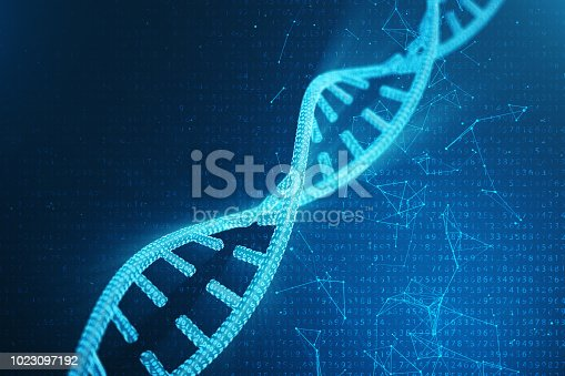 istock Digital DNA molecule, structure. Concept binary code human genome. DNA molecule with modified genes. 3D illustration 1023097192