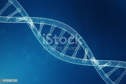 istock Digital DNA molecule, structure. Concept binary code human genome. DNA molecule with modified genes. 3D illustration 1023097202