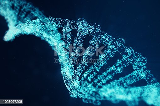 istock Digital DNA molecule, structure. Concept binary code human genome. DNA molecule with modified genes. 3D illustration 1023097208