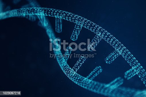 istock Digital DNA molecule, structure. Concept binary code human genome. DNA molecule with modified genes. 3D illustration 1023097216
