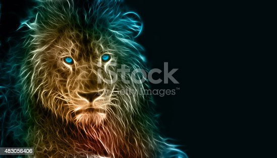 istock Digital drawing of a lion 483056406