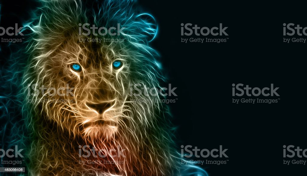 Digital drawing of a lion stock photo