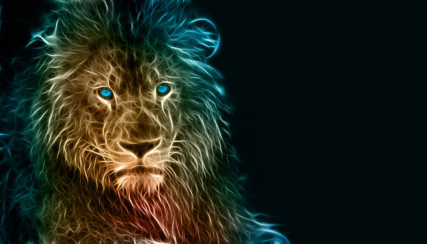 digital drawing of a lion - lion stock photos and pictures