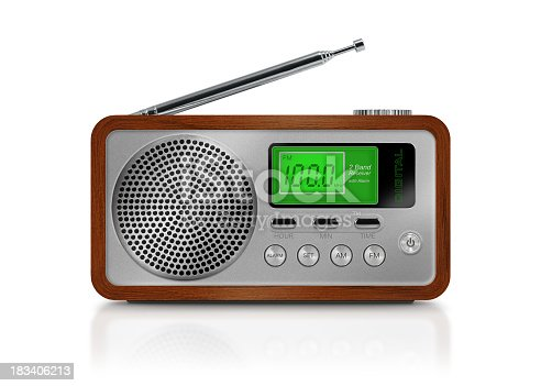 Digital portable radio with green illuminated lcd display. Radio has a wooden body, metallic buttons and antenna. Isolated on white background.
