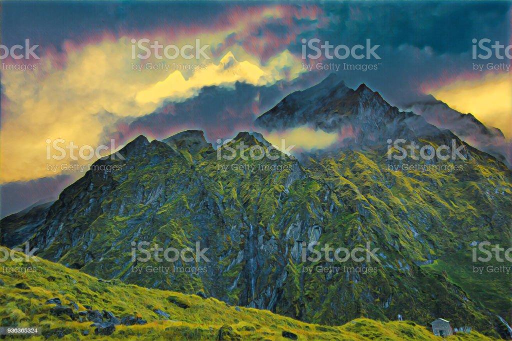 山の峻険な山々 のデジタル図面 - かすみのストックフォトや画像を多数 ...