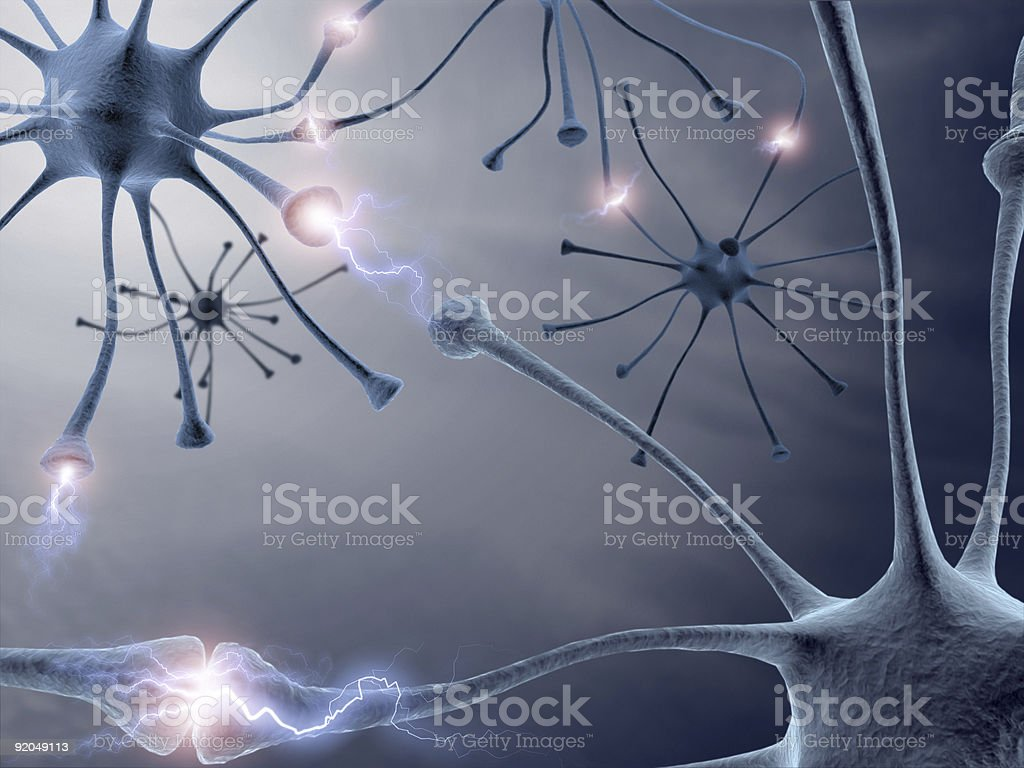 Digital drawing of neurons sending signals to each other royalty-free stock photo