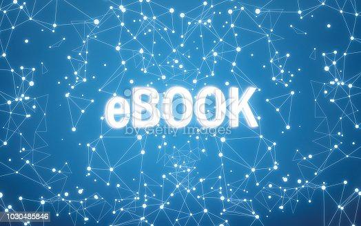 Digital ebook text on blue network background