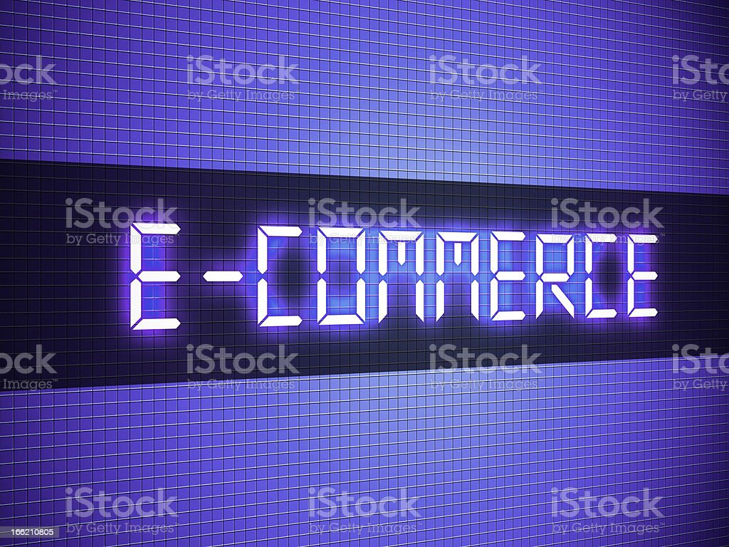 Digital e-commerce word on lcd-styled display royalty-free stock photo
