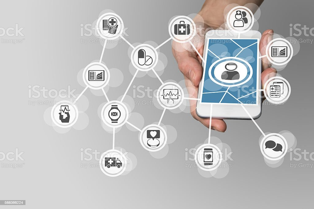 Digital e-healthcare in order to connect patients to medical services - foto de stock