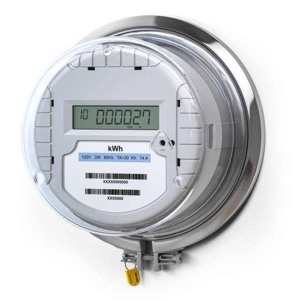 Digital electric meter with lcd screen isolated on white. Electricity consumption concept. stock photo