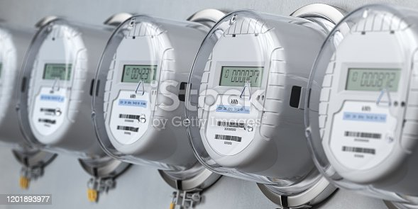 Digital electric meters in a row measuring power use. Electricity consumption concept. 3d illustration
