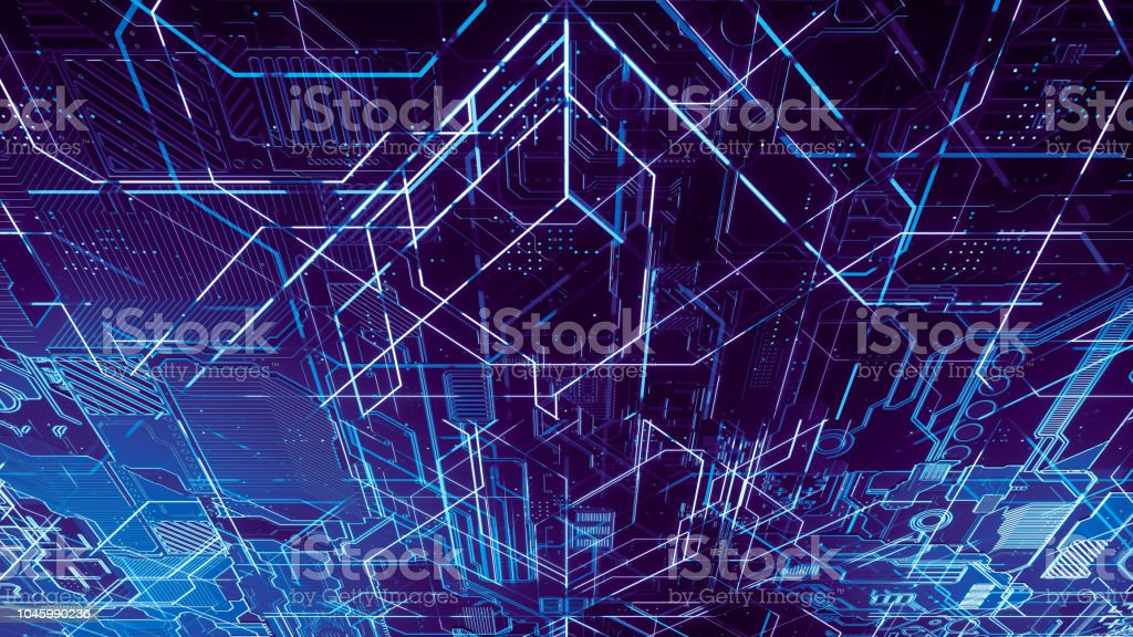 Digital Electronic Circuit Board Abstract Structure Of Many